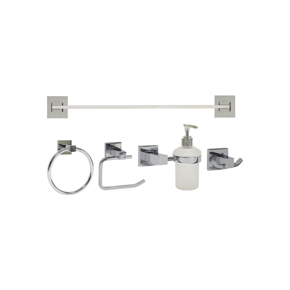 Accesorios para ba o cromados set de 5 piezas juegos for Set accesorios bano