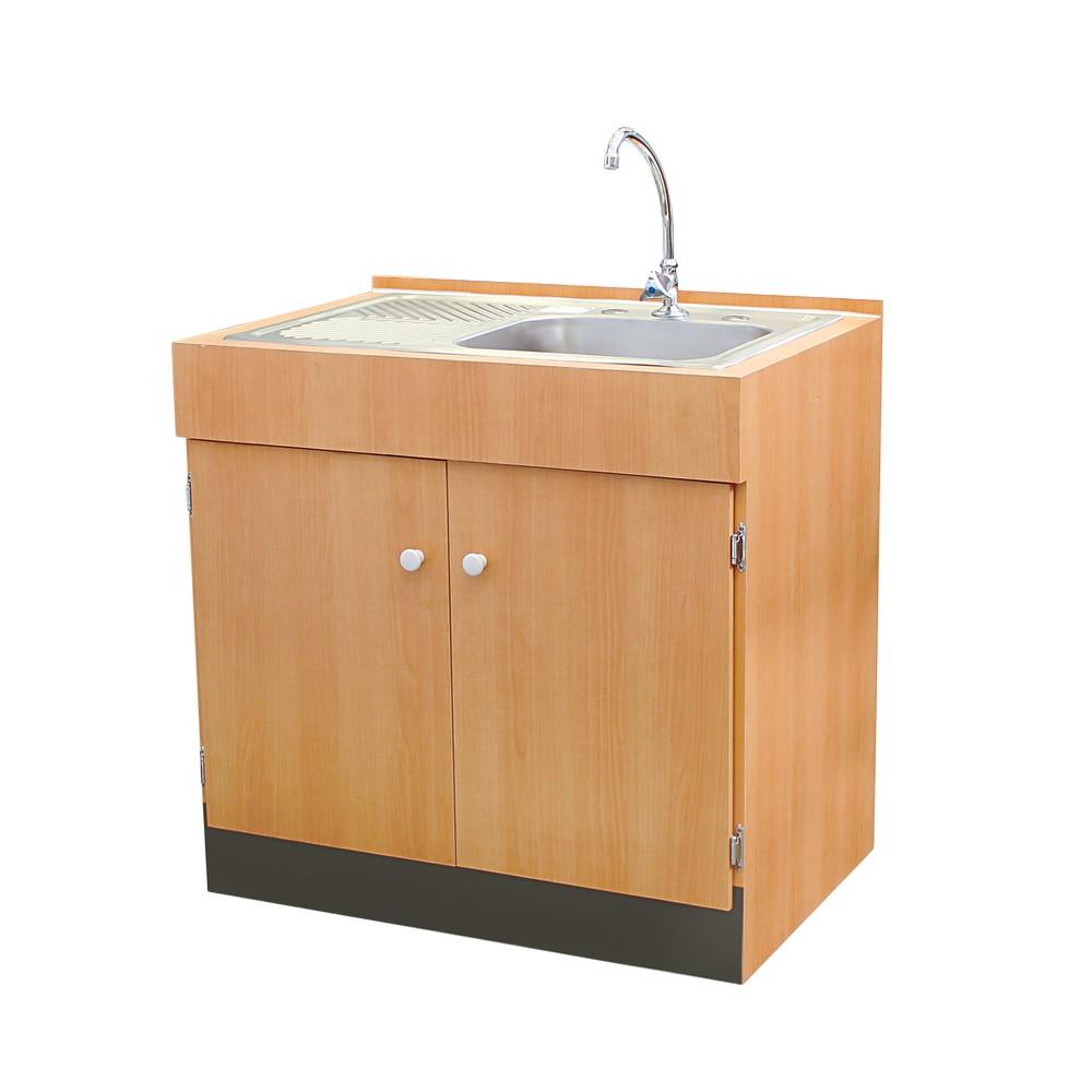 Gabinete con fregadero y accesorios acabado madera for Gabinetes de bano en madera