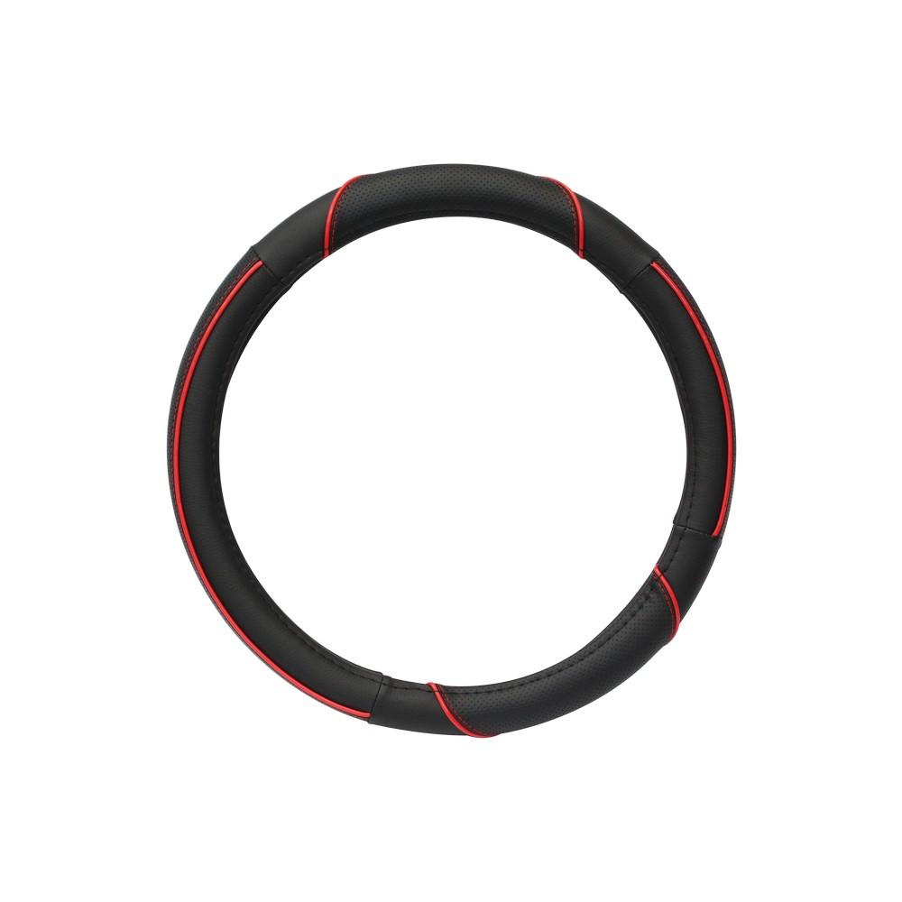 Forro negro y rojo para timón de carro