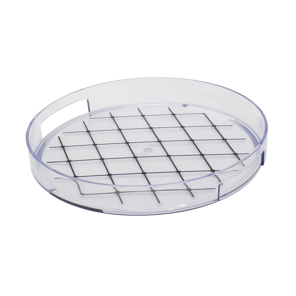 Bandeja redonda transparente de 11.80 pulgadas