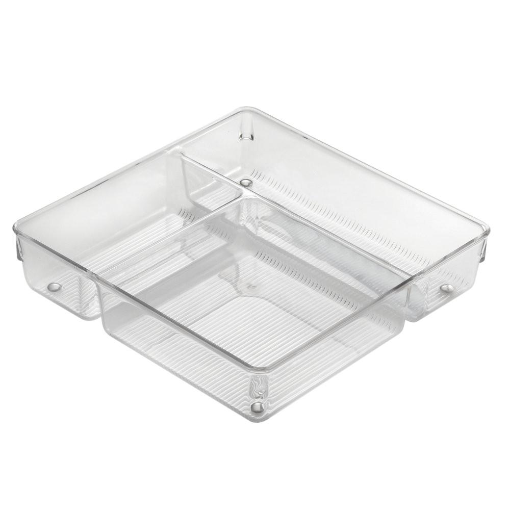 Caja organizadora plástica para gaveta, 9x9x2 pulgadas.