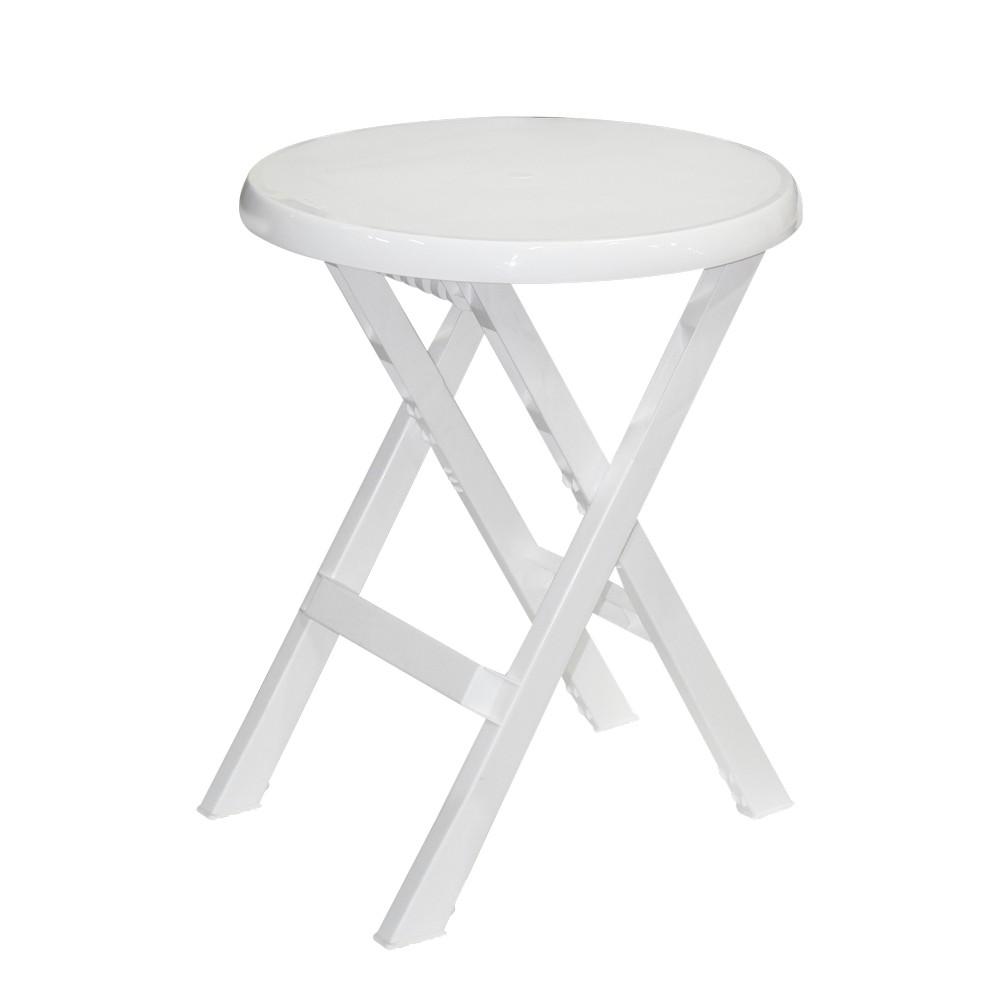 Mesa plástica redonda blanca