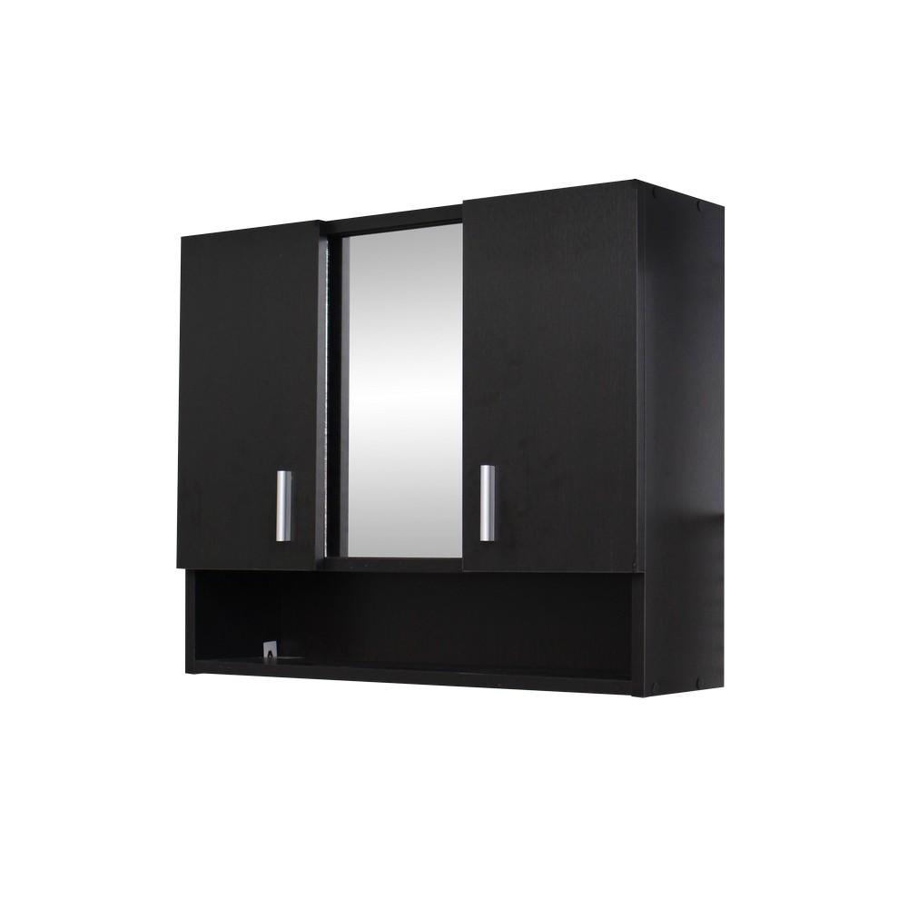 Gabinete para ba o wengu con espejo spa gabinetes de for Gabinete de almacenamiento de bano de madera