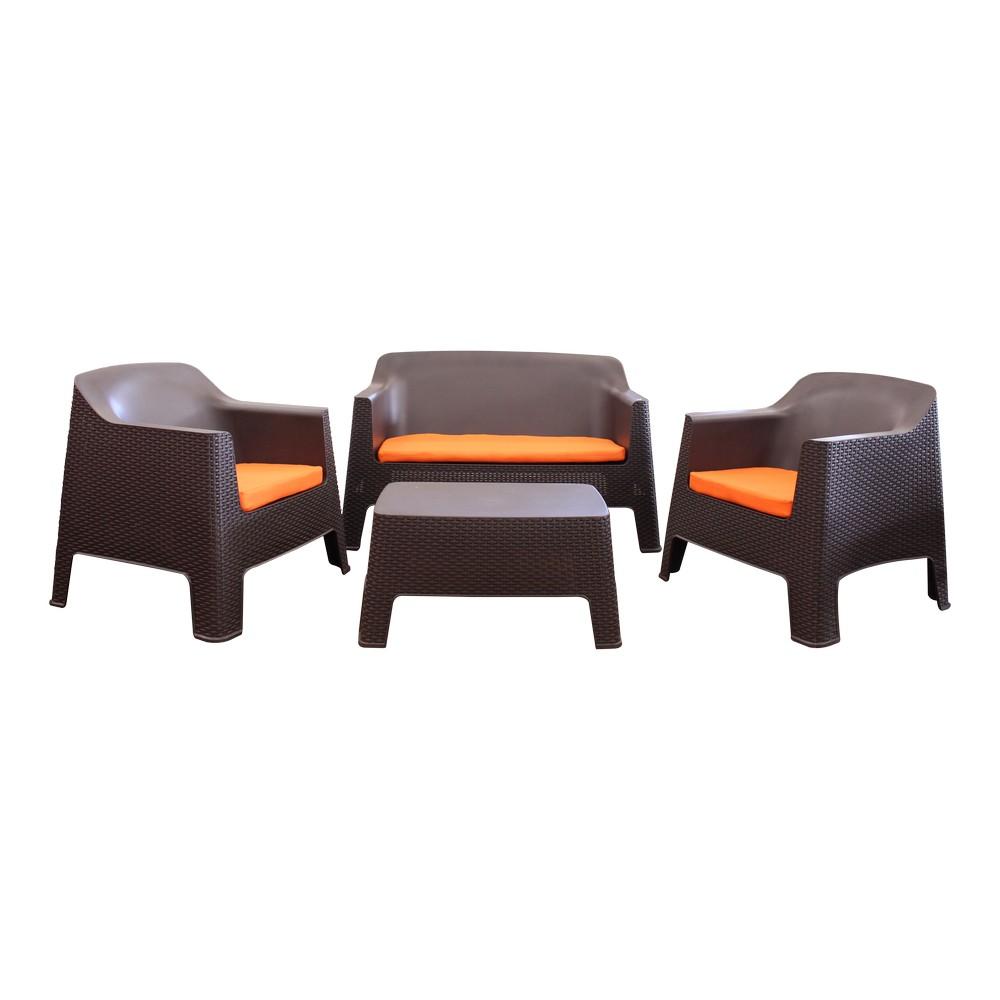 Mueble de sala rattán café plástico con cojines naranja, juego de 4 piezas.