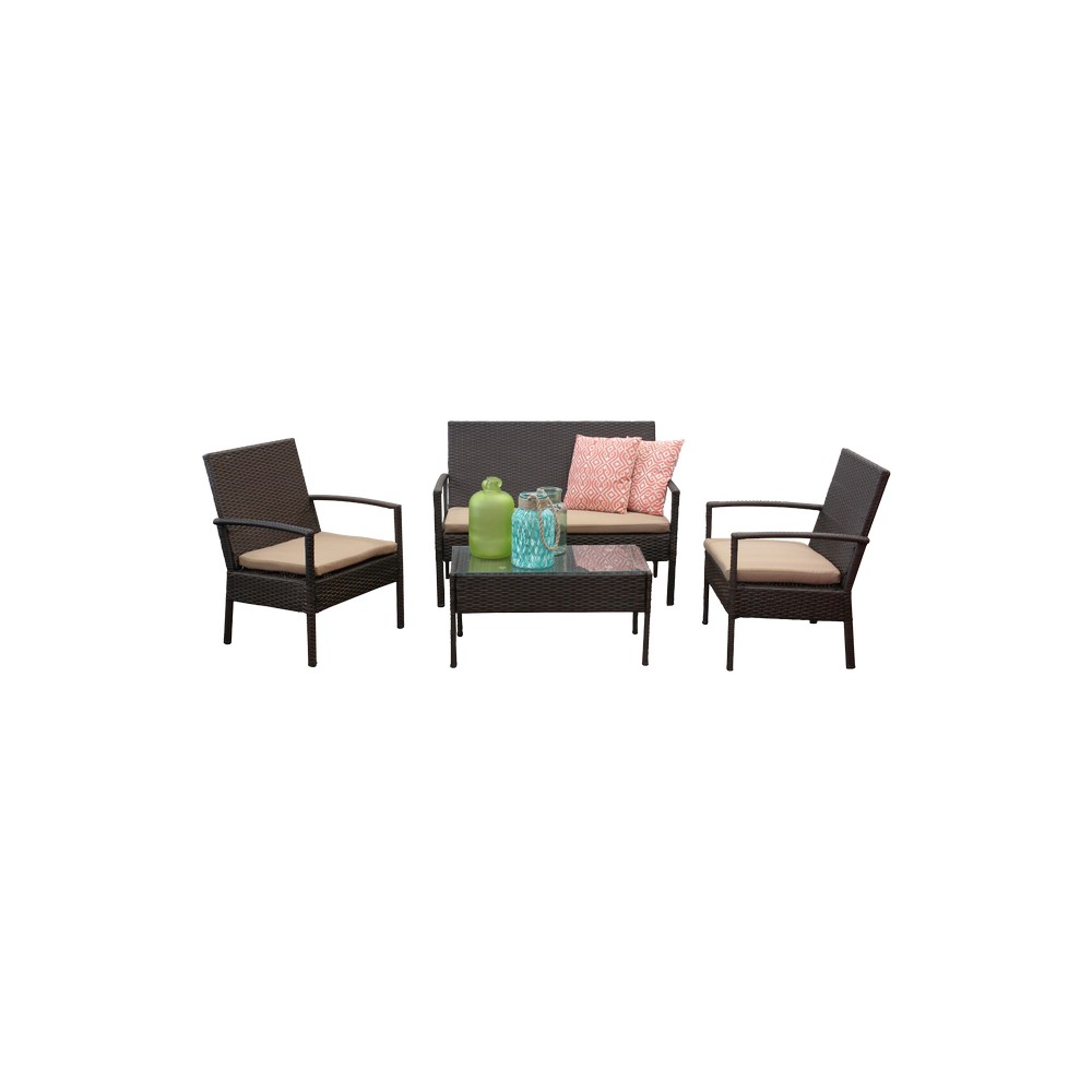 Mueble para terraza, rattan metálico con cojines beige, juego de 4 ...