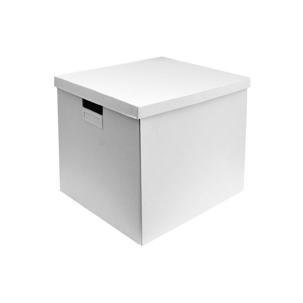 Caja organizadora blanca con tapa, 32x35x32 centímetros.