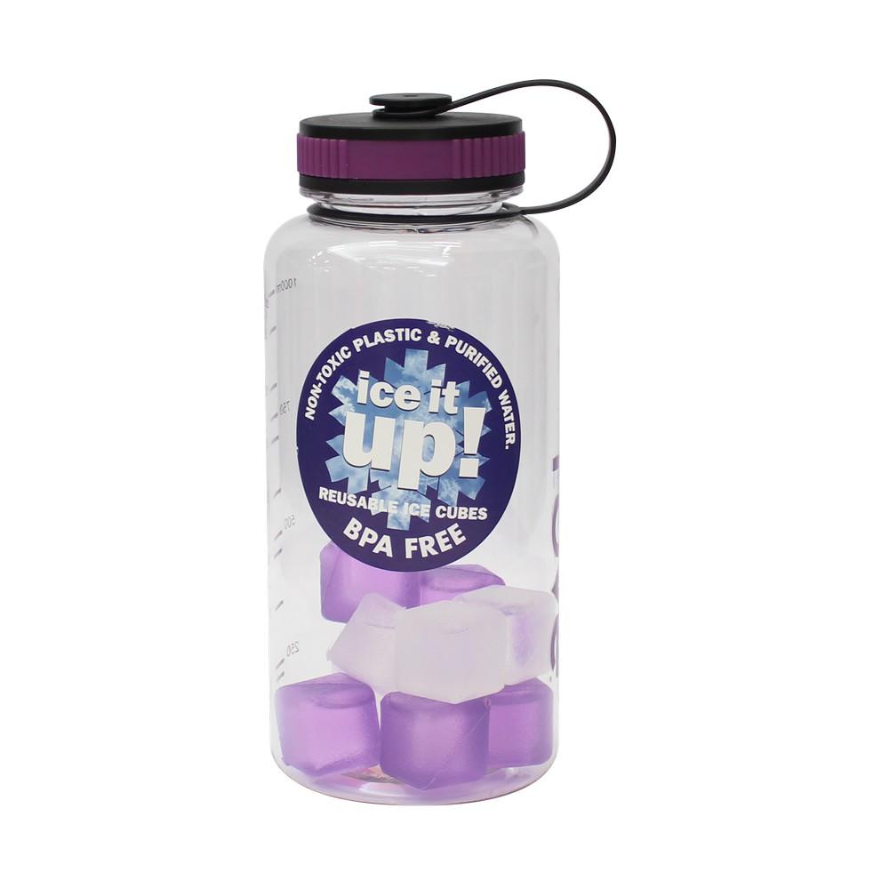 Botella plástica con cubos de hielo 1.1 l morada