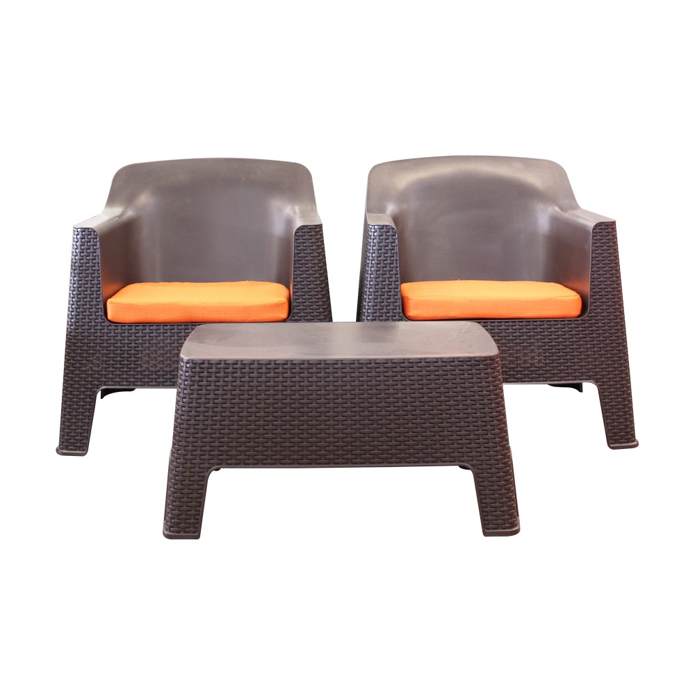 mueble de sala caf ratt n pl stico con cojines naranja 3