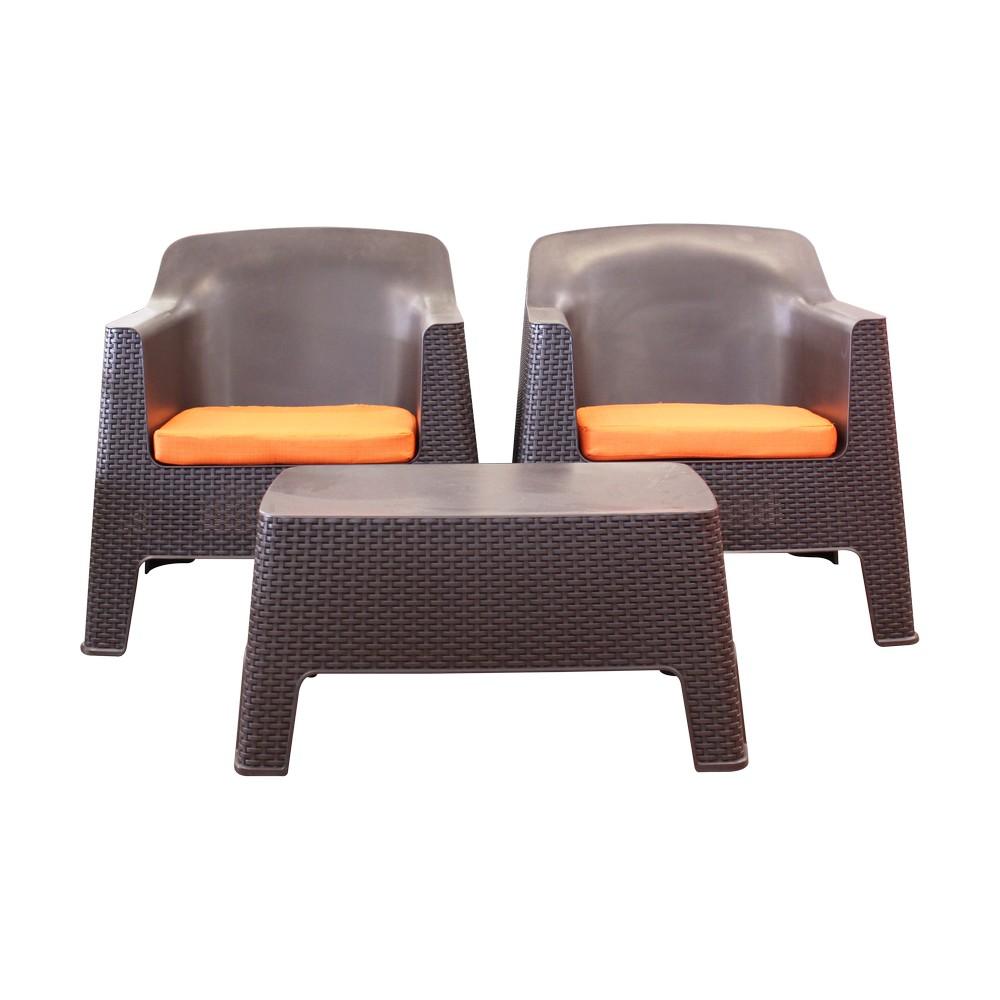 Mueble de sala café rattán plástico con cojines naranja, 3 piezas.
