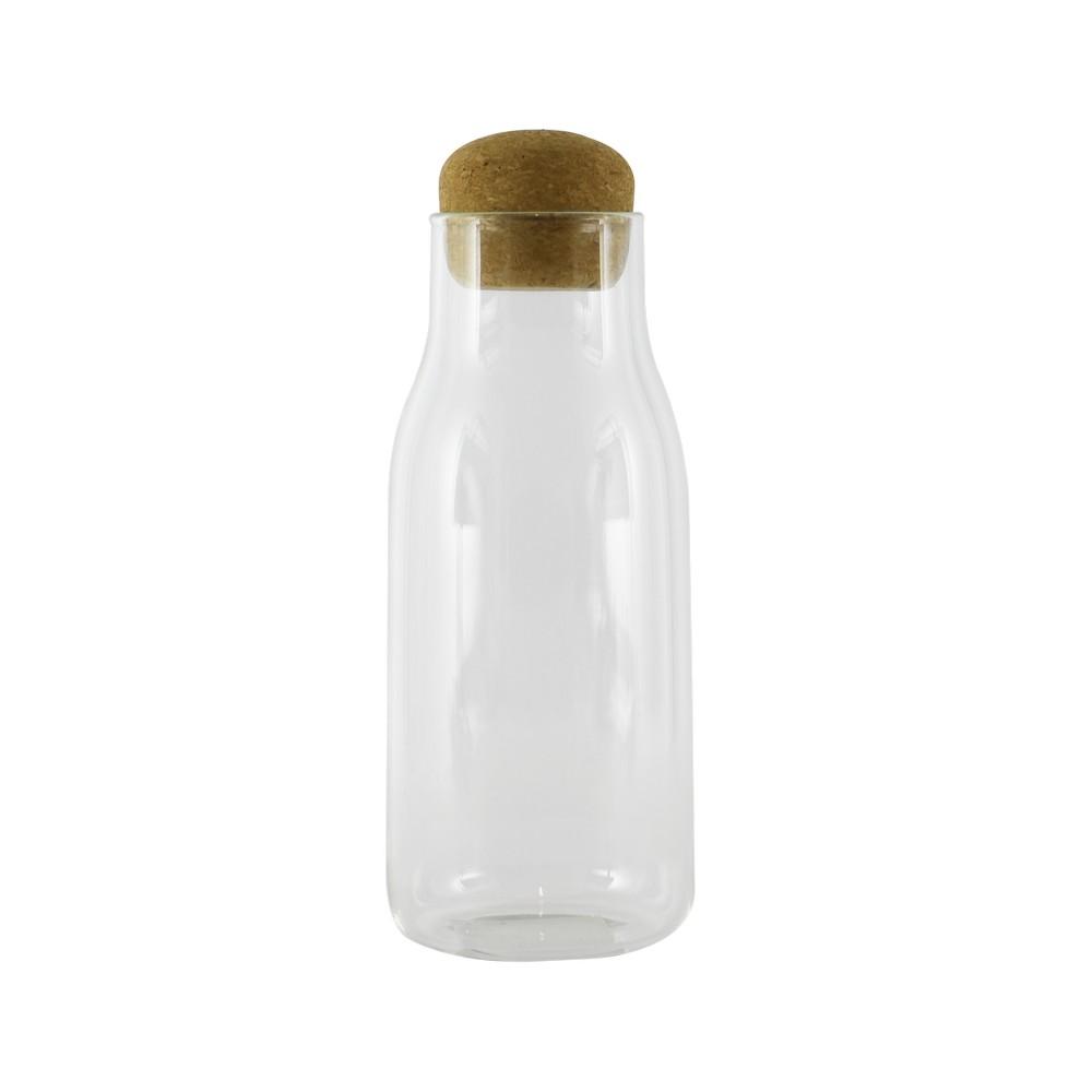 Botella de vidrio con tapon corcho 8x19cm 750-79981