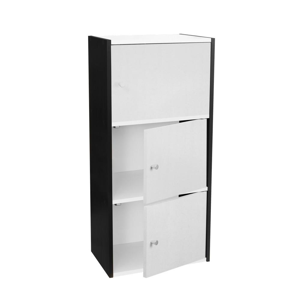 Mueble 3 estantes con puerta blanco negro pbf 0814 for Mueble 3 estantes