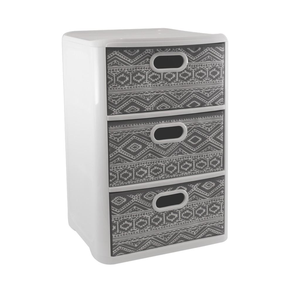 Mueble Organizador Con 3 Gavetas Color Blanco Con Gris Muebles  # Muebles En Soyapango