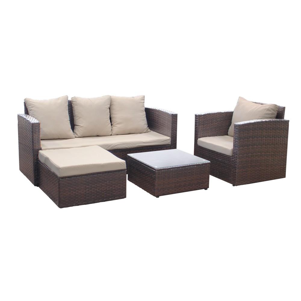 Mueble de sala rattan plastico cafe cojin beige al1150 kd - Muebles de rattan para exterior ...
