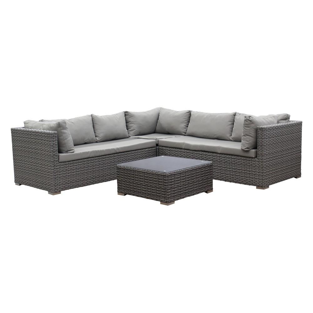 Mueble de sala modular rattan color gris con cojines for Muebles de sala color gris