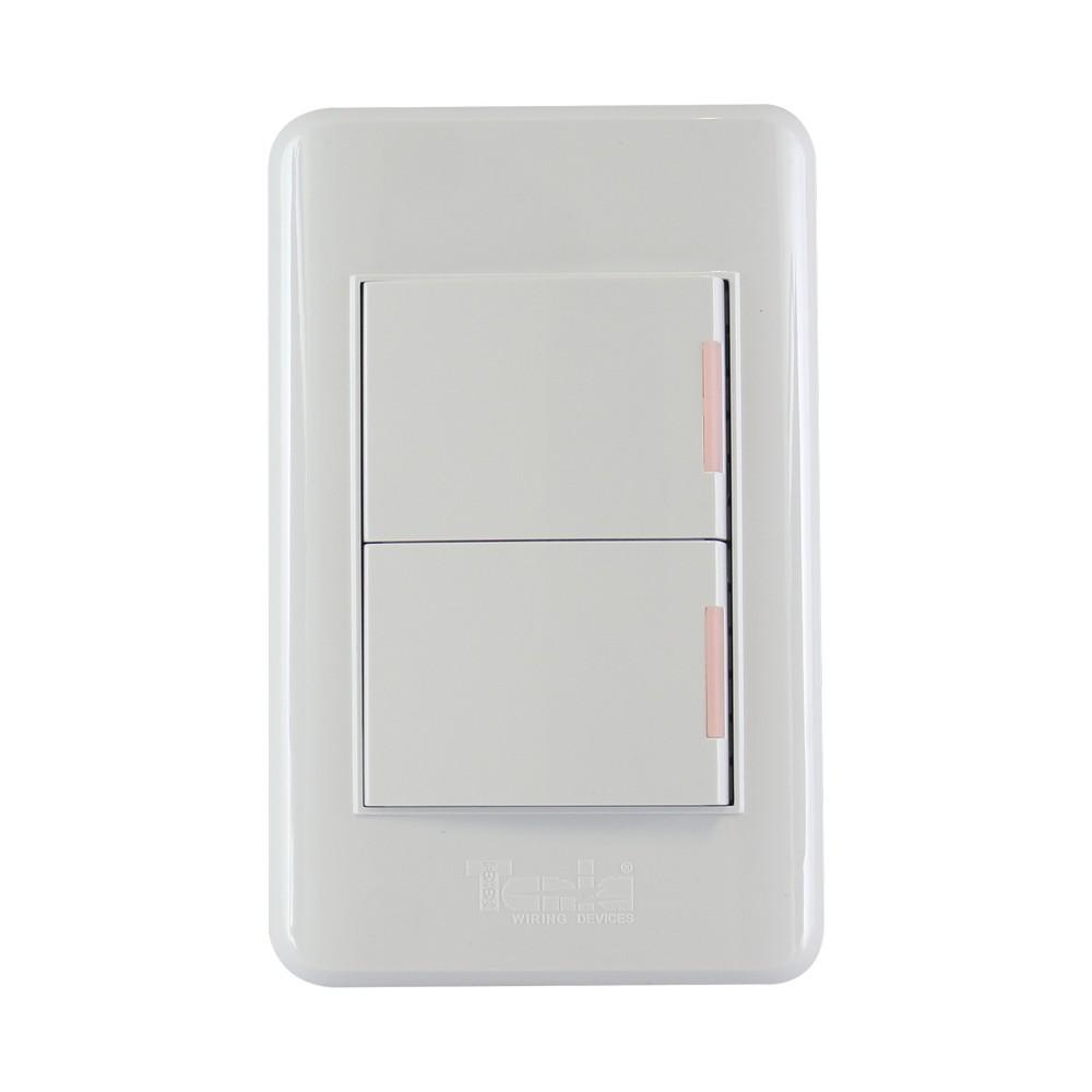 Interruptor doble de 3vías 10a 125vac blanco