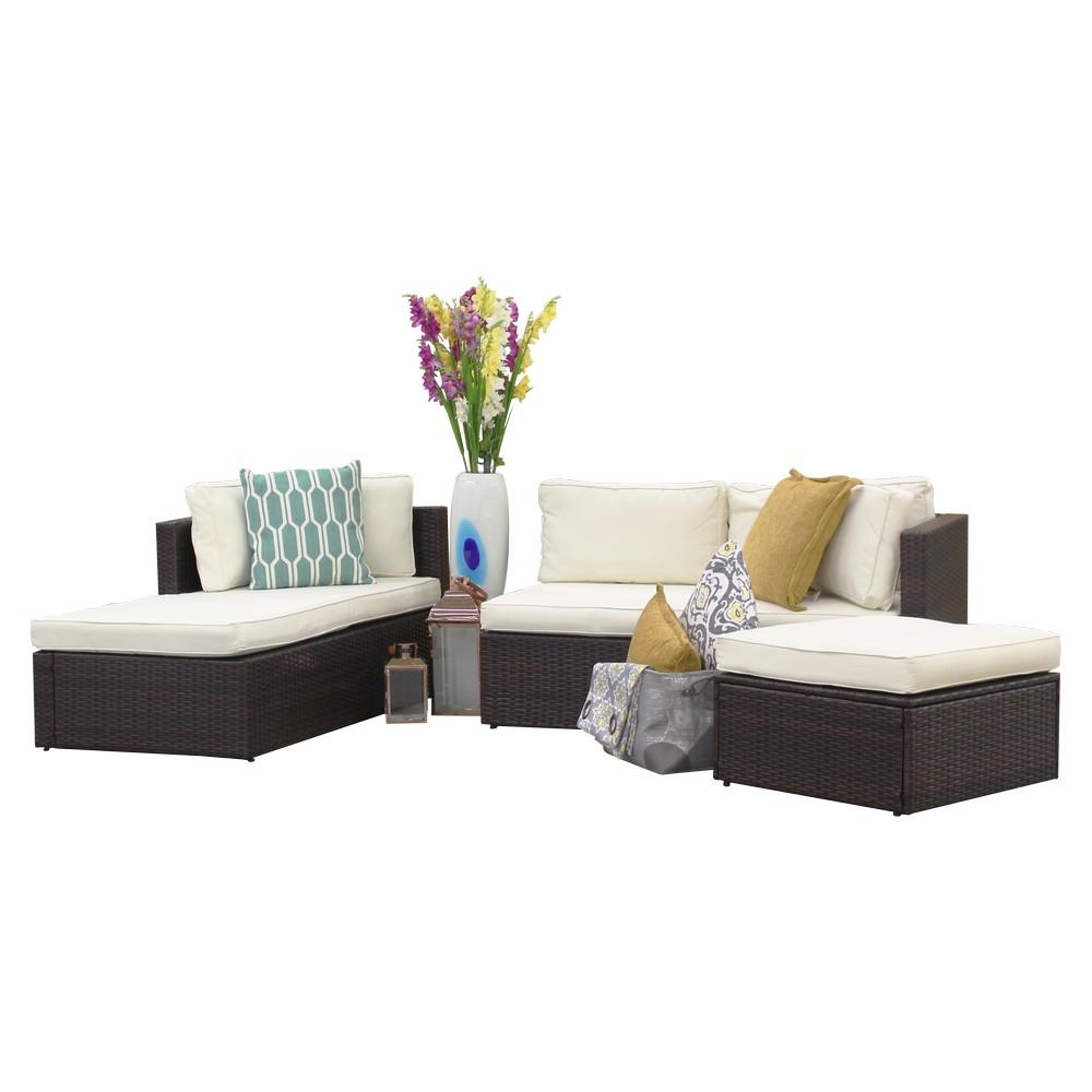 Mueble de sala rattán café con cojines crema