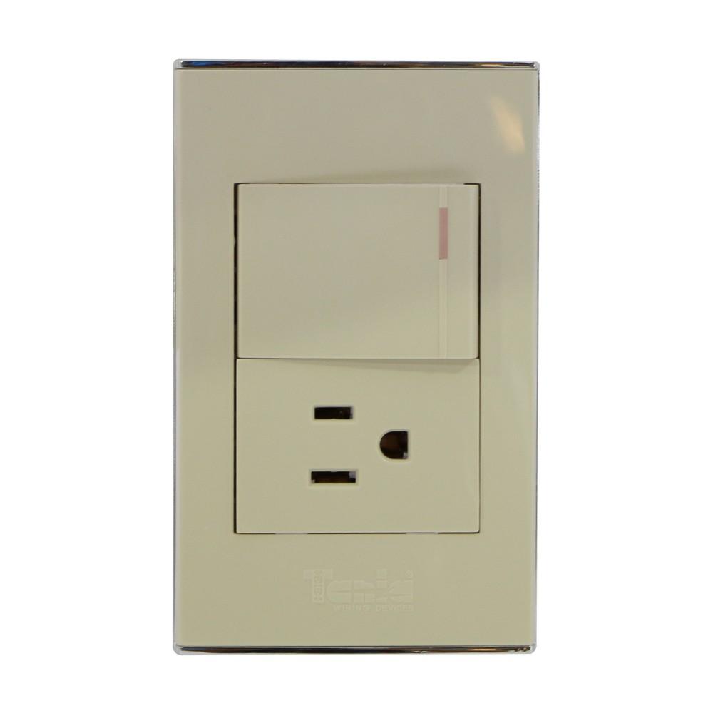 Interruptor con toma polarizado 15a 120vac