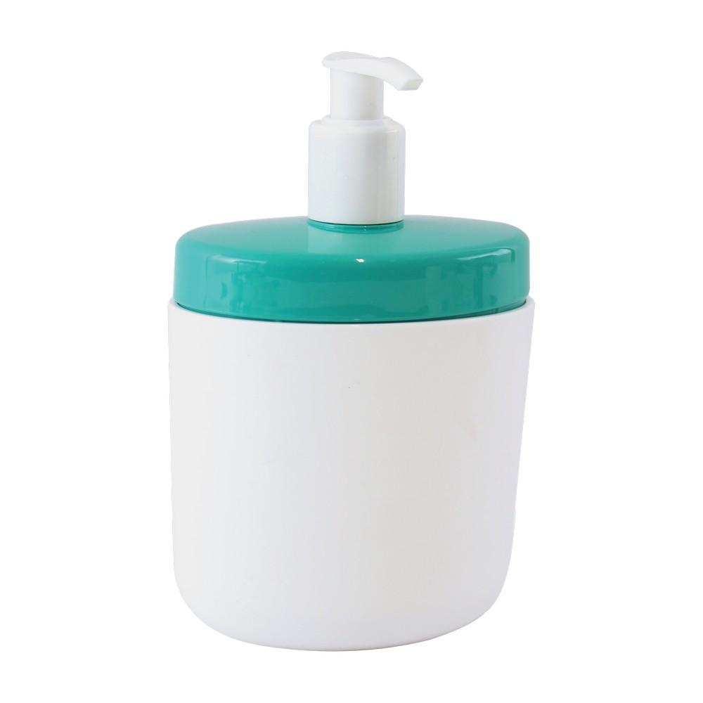 Dispensador de jabón líquido para baño plástico blanco con celeste