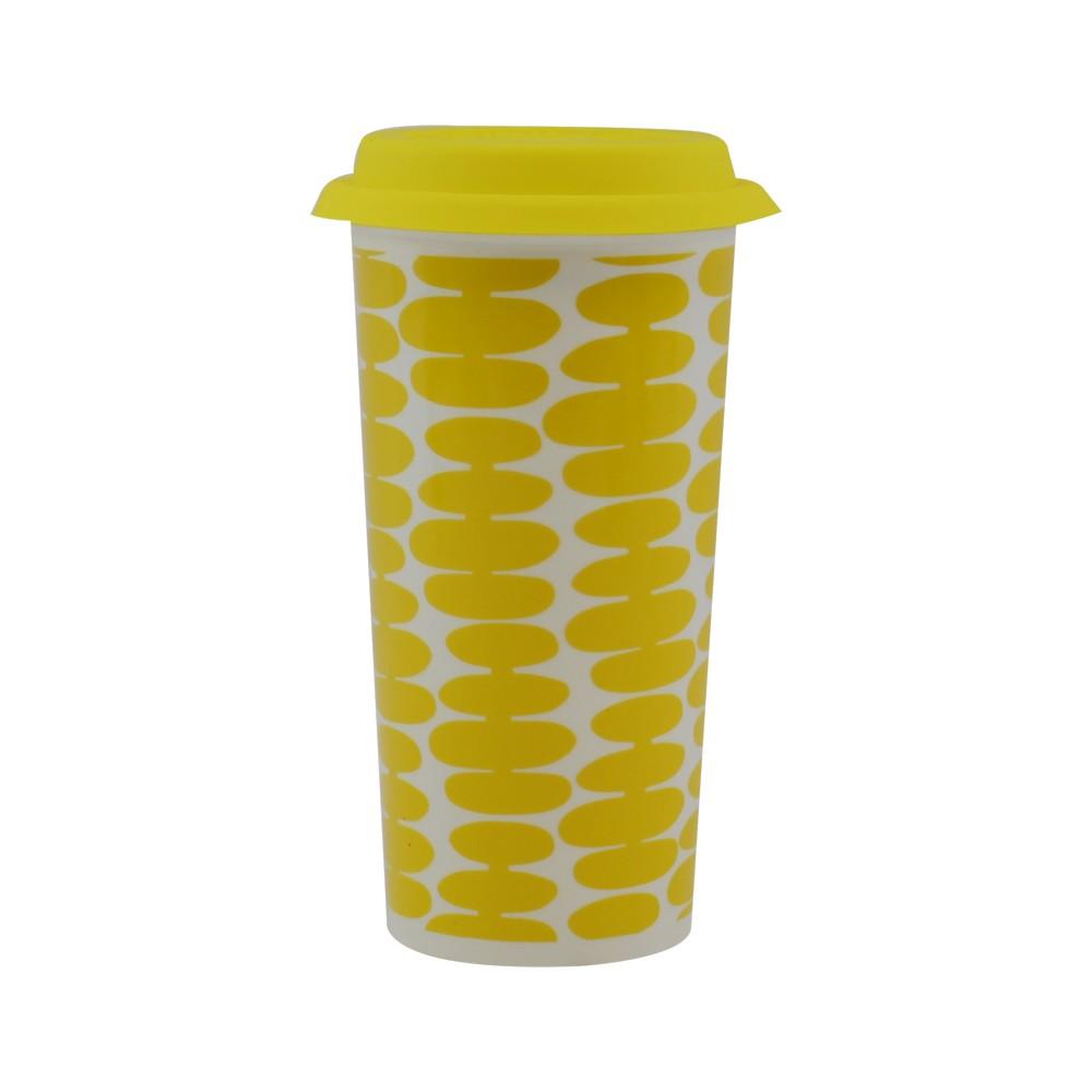 Taza de ceramica 16oz amarilla con tapa 33298