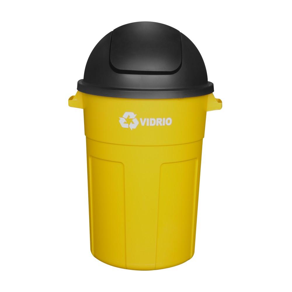 Basurero reciclaje vidrio 105lt amarillo tapa balancin 1136