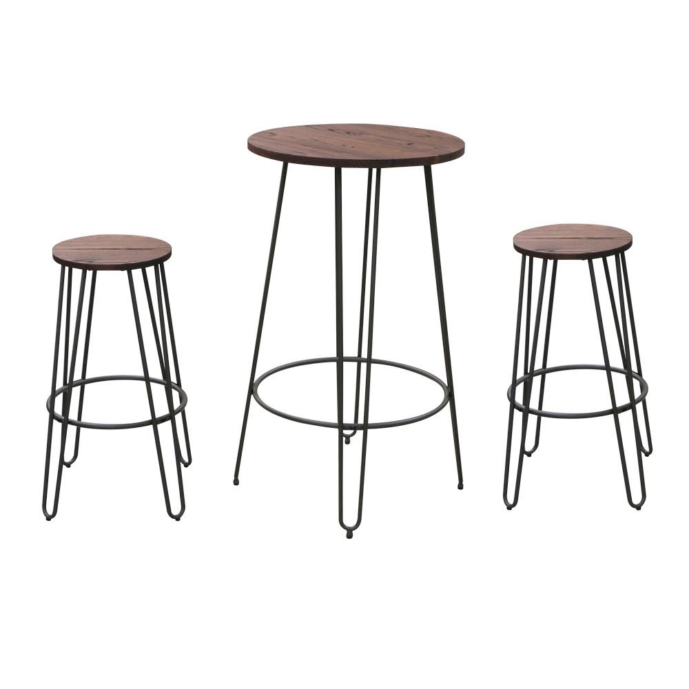 Set mesa para bar con bancos metal 3 pzas