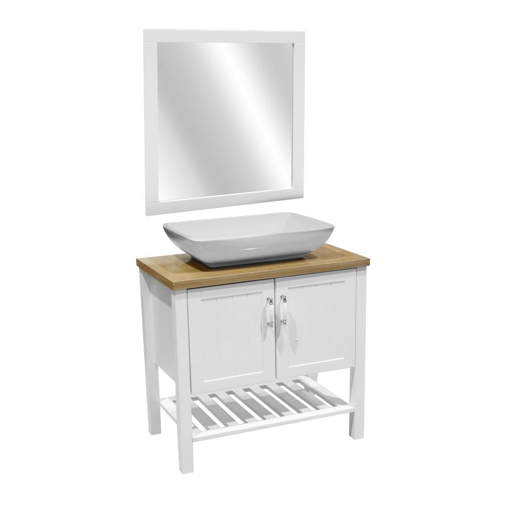 Gabinete con lavamanos y espejo blanco