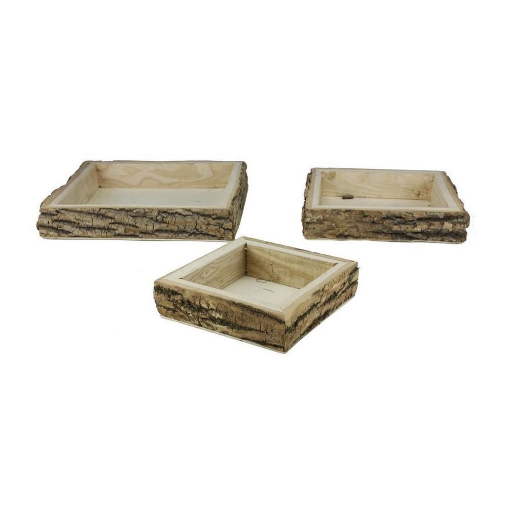 Caja de madera cuadrada s/3