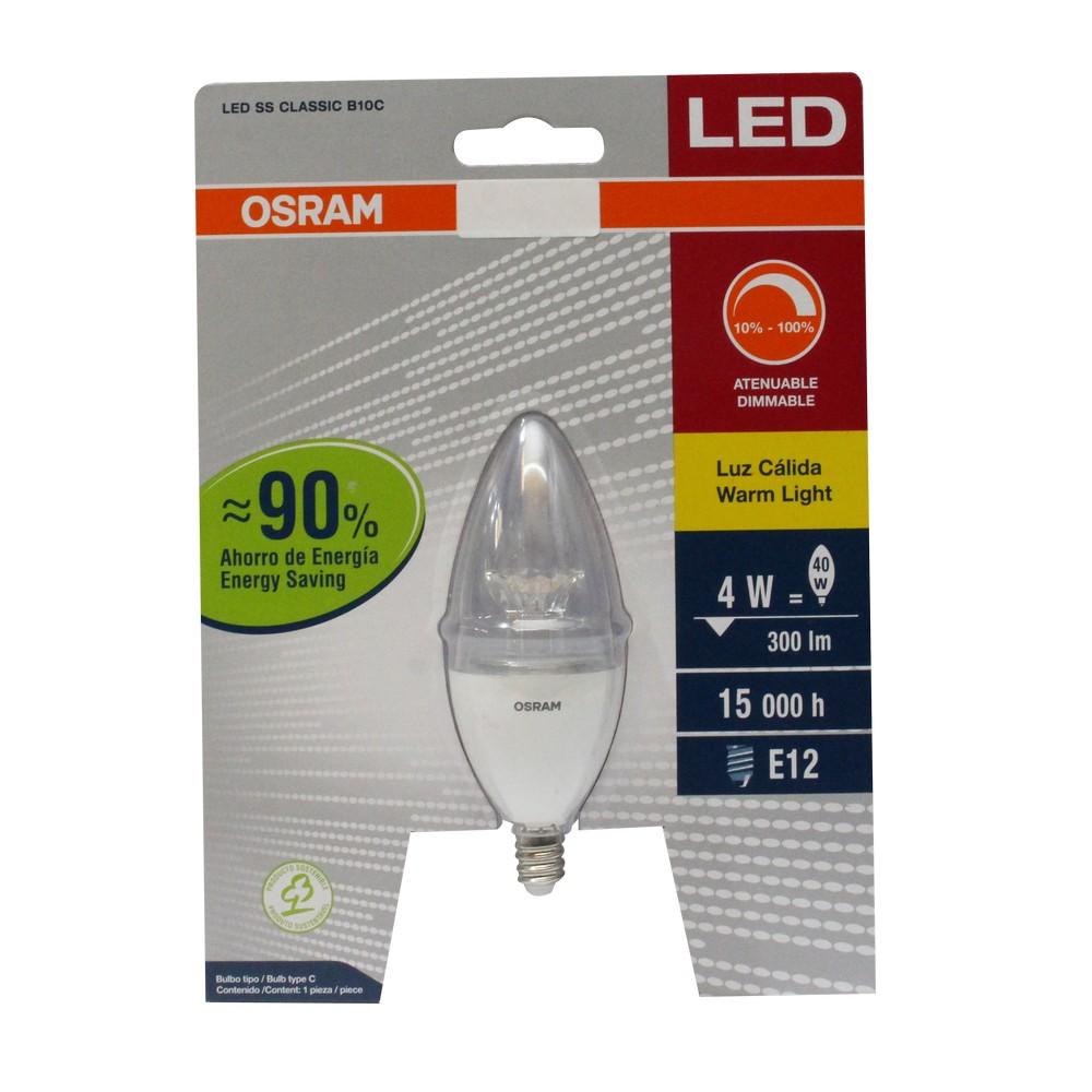 Foco led 3w e12 luz amarilla tipo vela dimeable