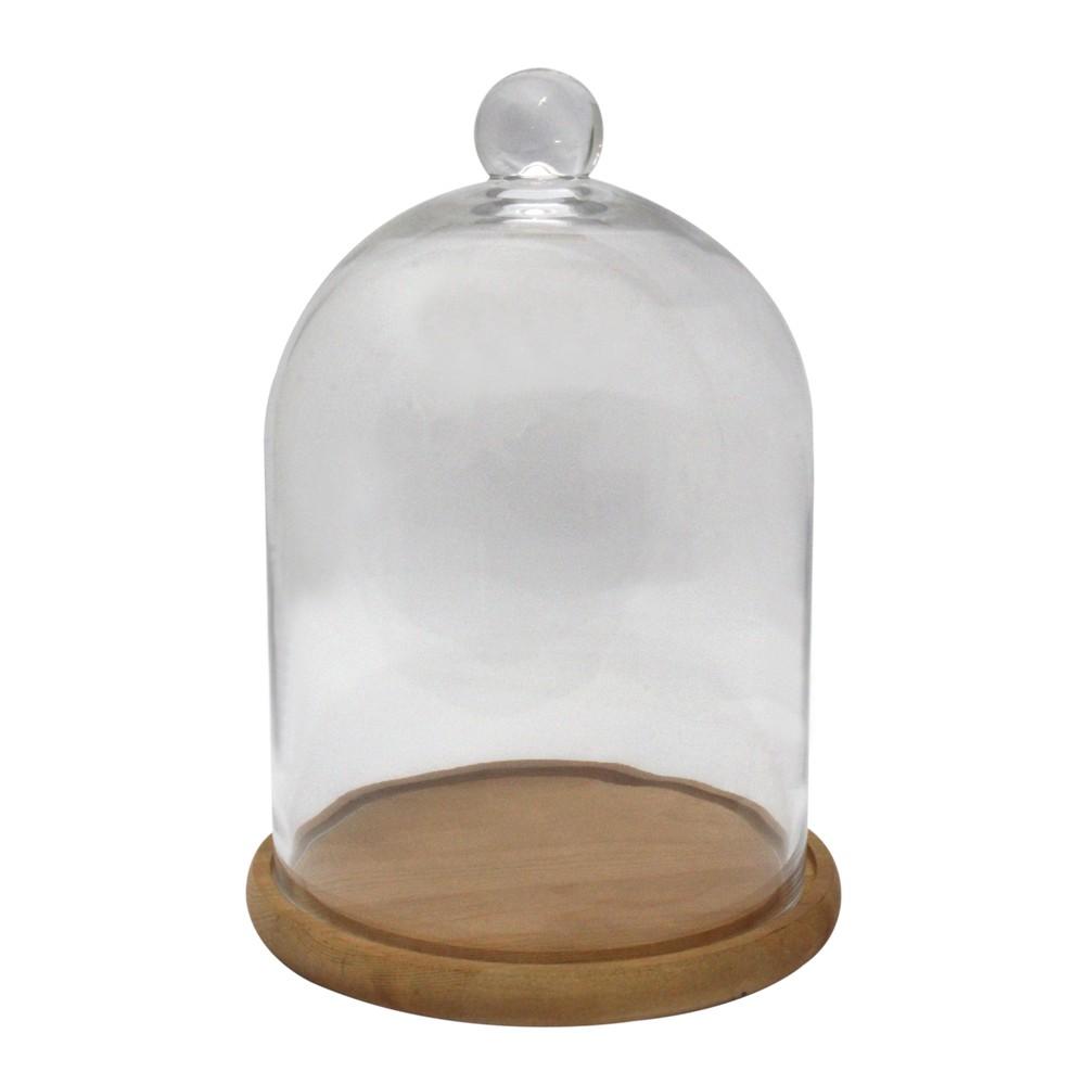 Domo de vidrio 23x31cm con base de madera ga939-2030p