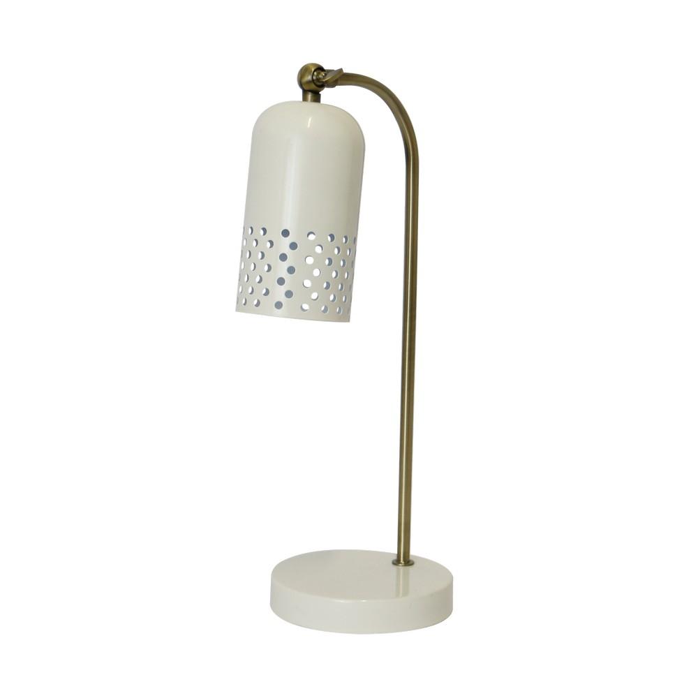 Lámpara de escritorio metálica retro blanca dorada 18 pulg