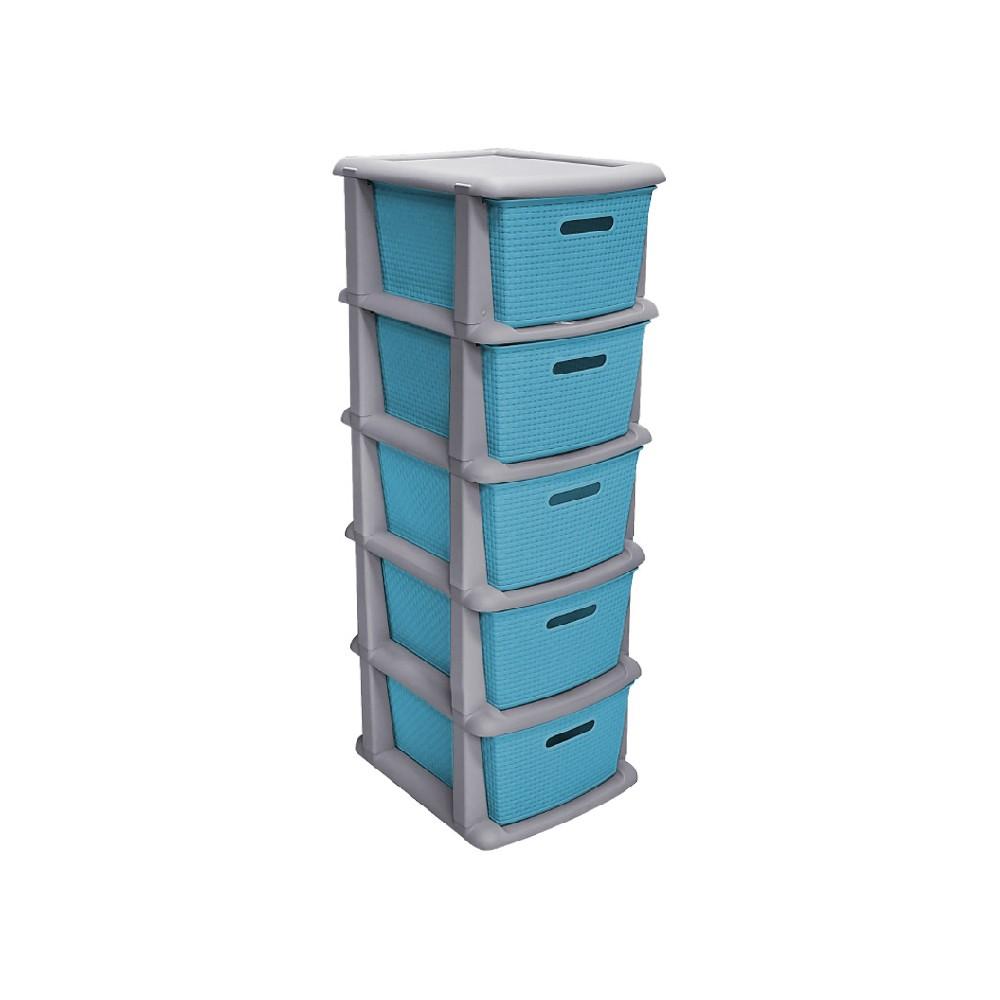 Gavetero plastico 5 gavetas color azul pacifico