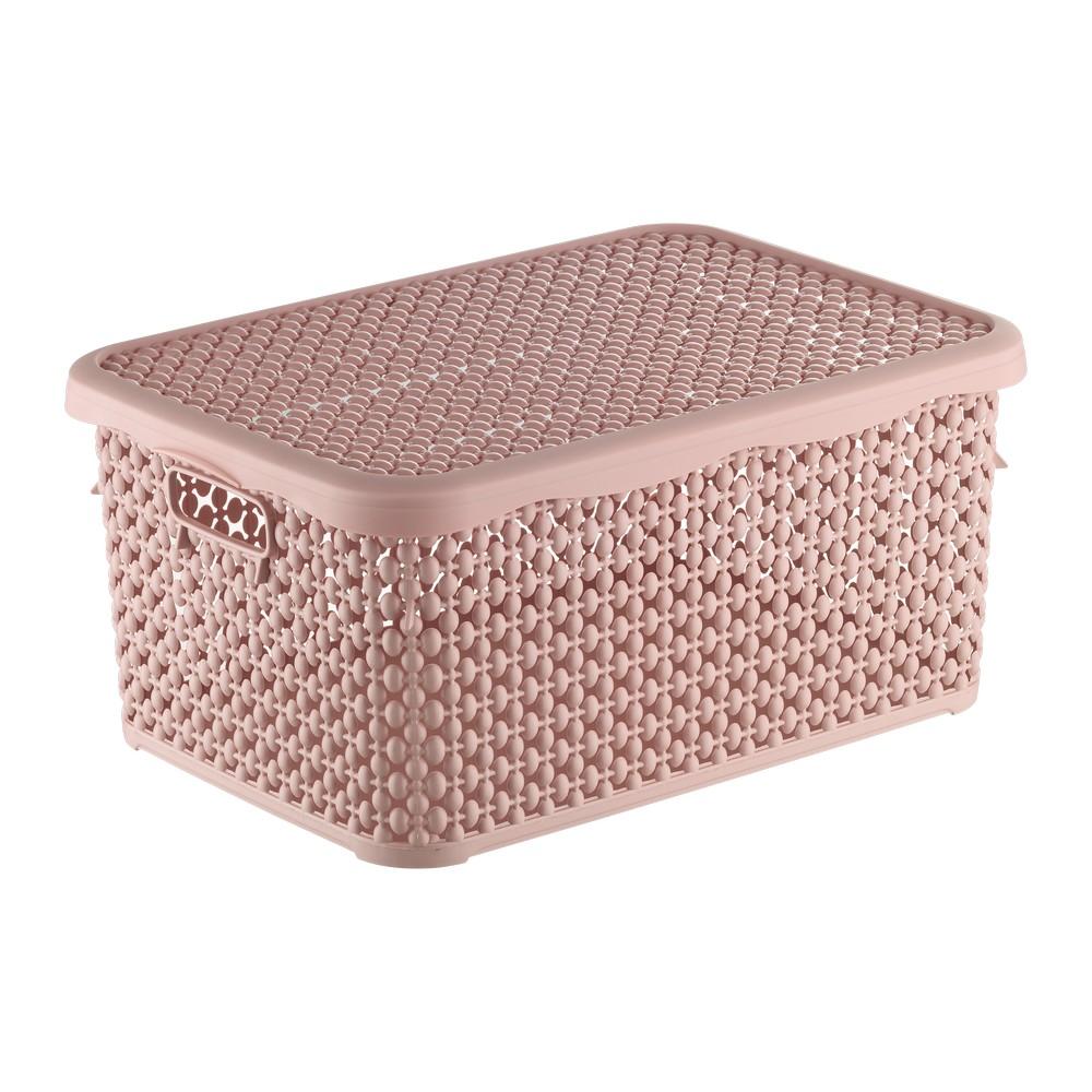 Canasta plastica rectangular con tapa