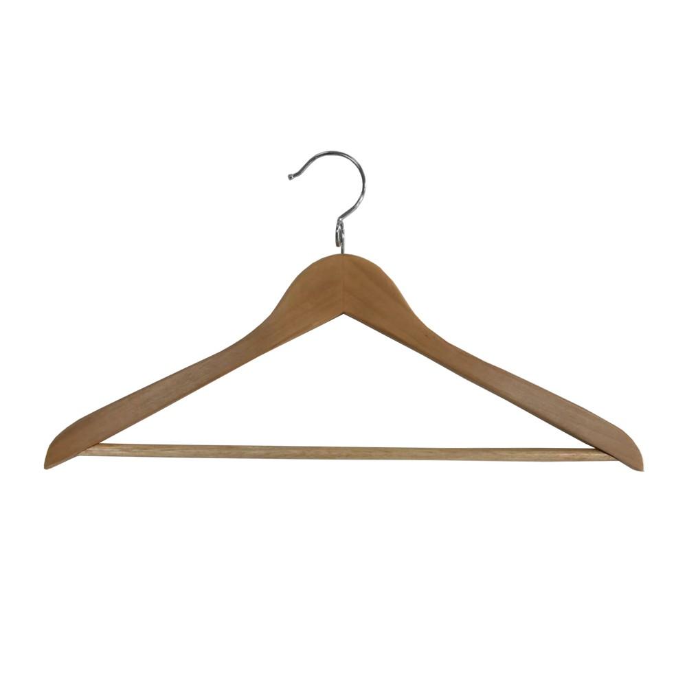 Gancho para ropa de madera con barra para pantalon