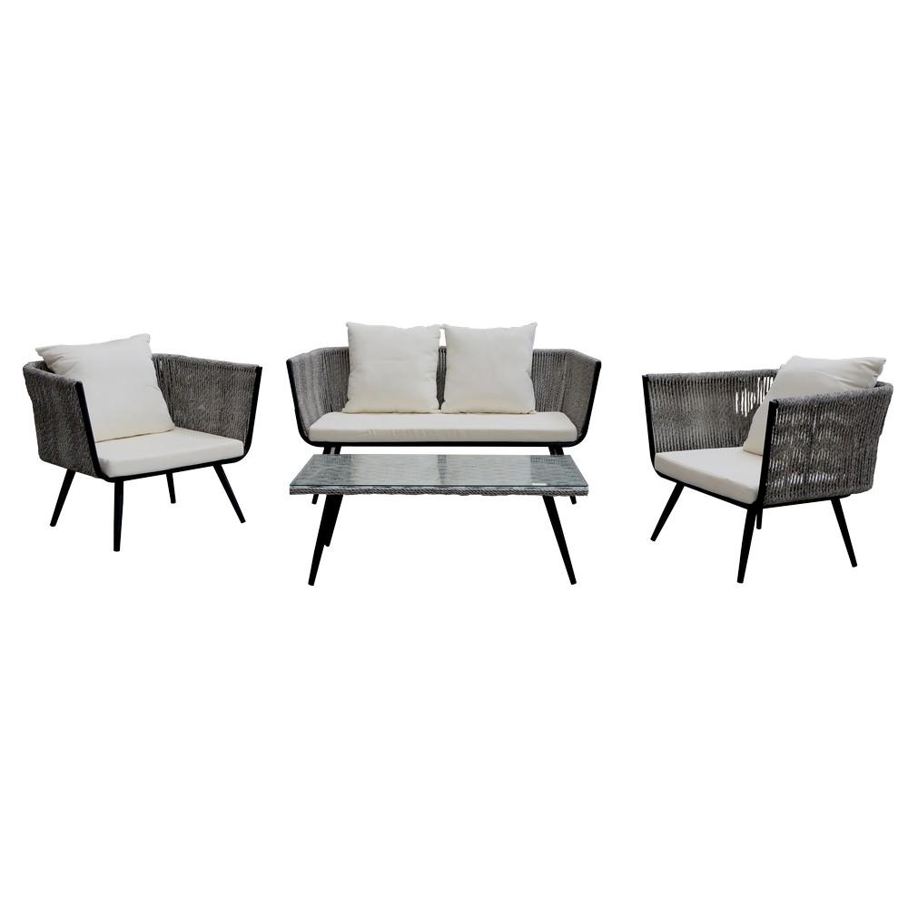 Mueble para terraza sala cuerda gris cojin blanco 4 pzas