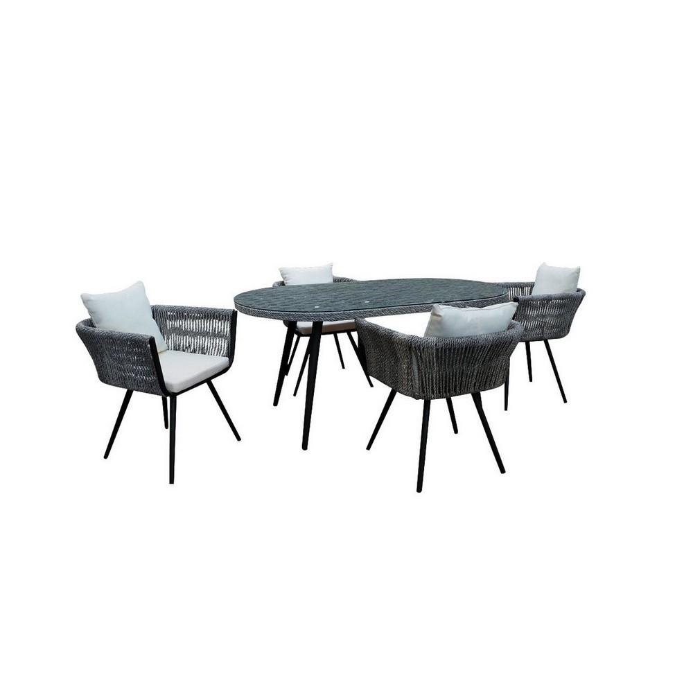 Mueble para terraza comedor cuerda gris cojin blanco 5 pzas