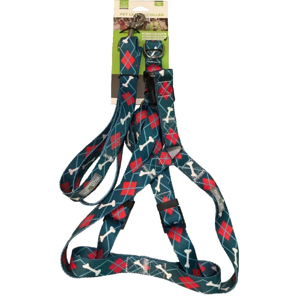 Set de correa con pechera de nylon para perro talla l 2 pzas