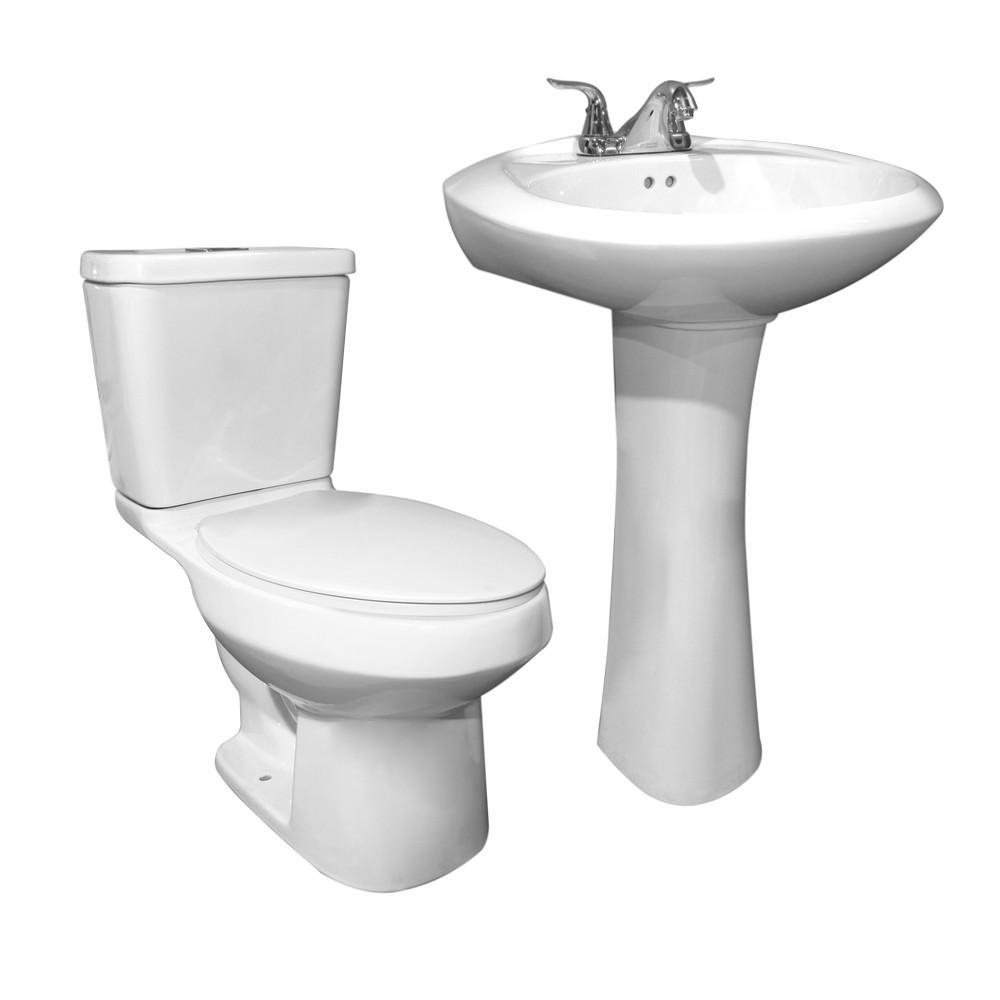 Inodoro redondo con lavamanos de pedestal blanco