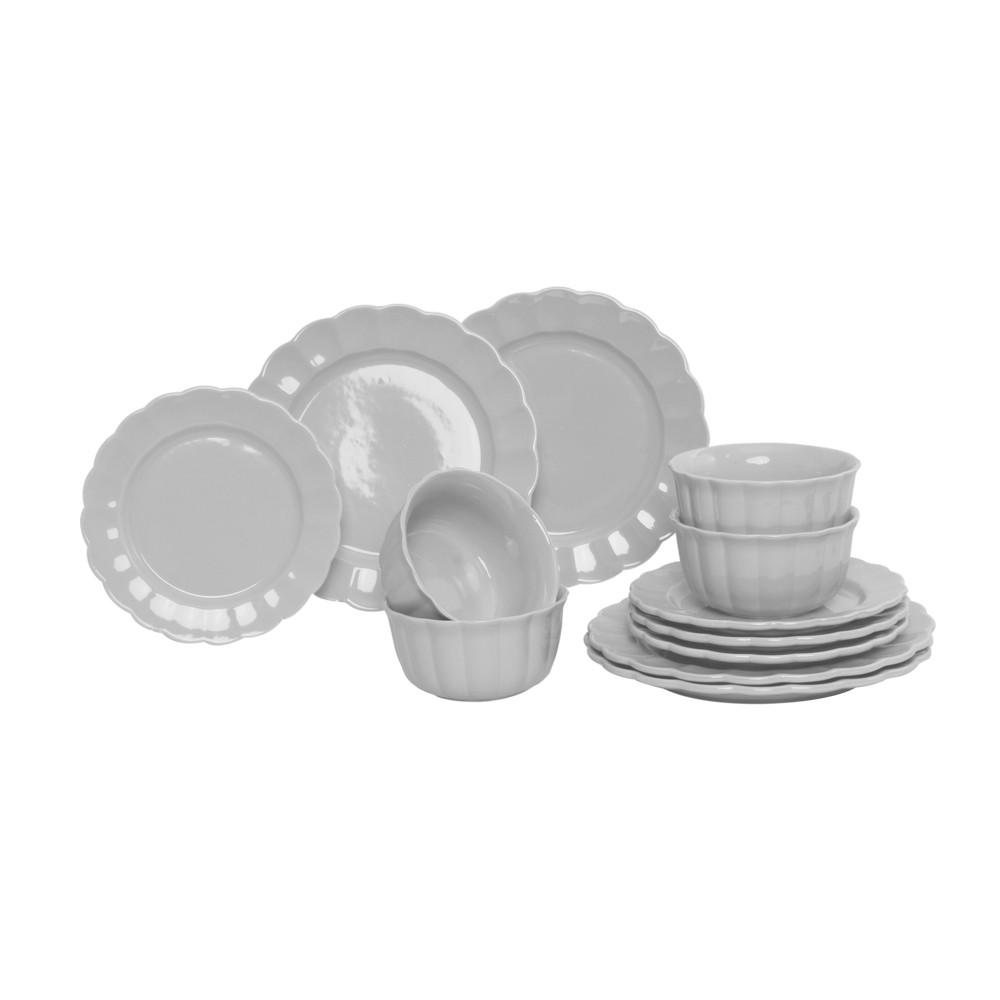 Vajilla de ceramica redonda crema 12 piezas