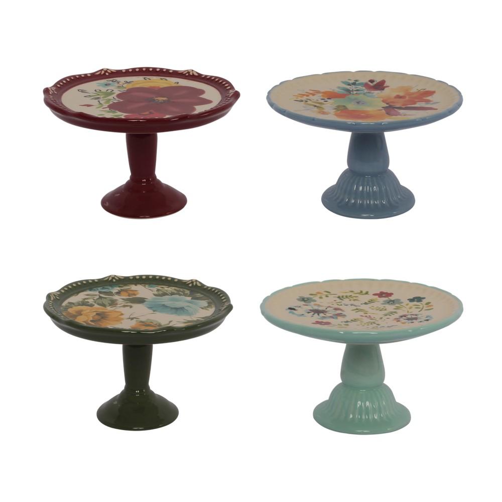 Base para postres mini de ceramica 4 pzas