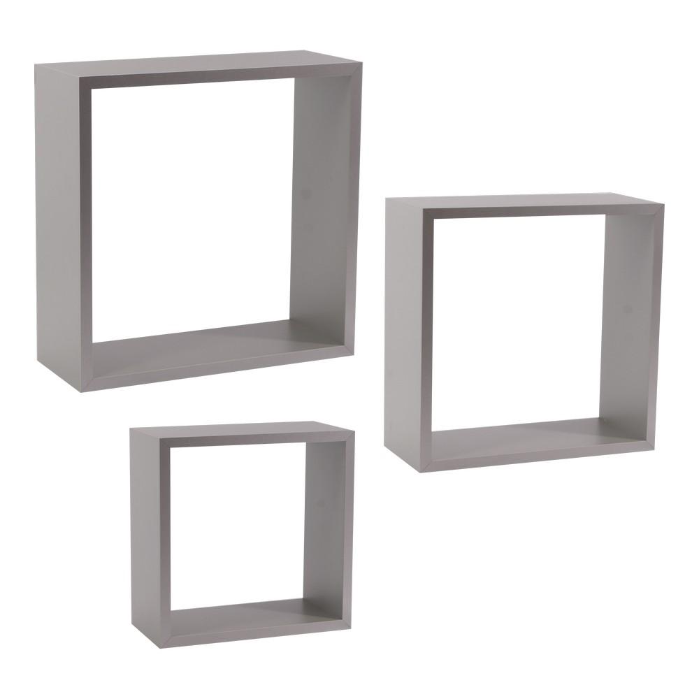 Repisa decorativa cubo gris 3 pzas