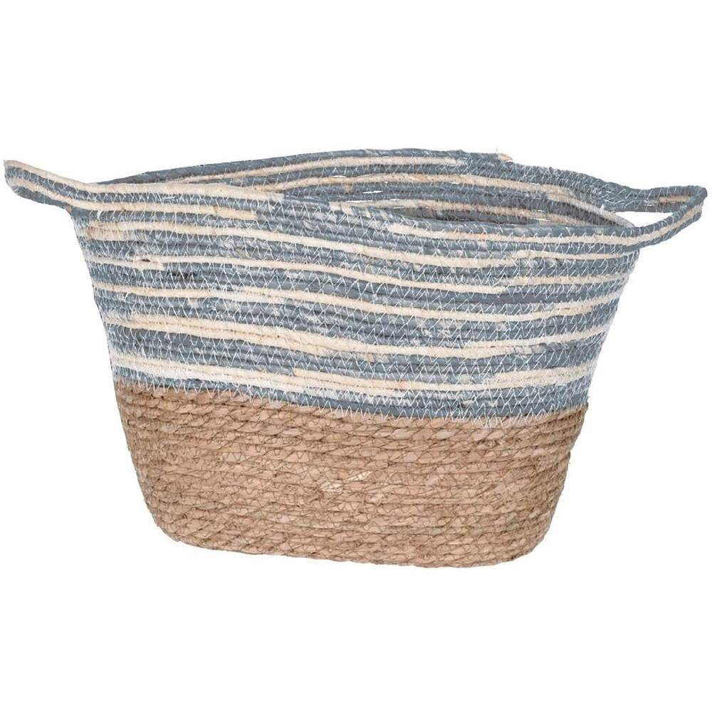 Set cestas decorativas mimbre ovaladas 3 pzas