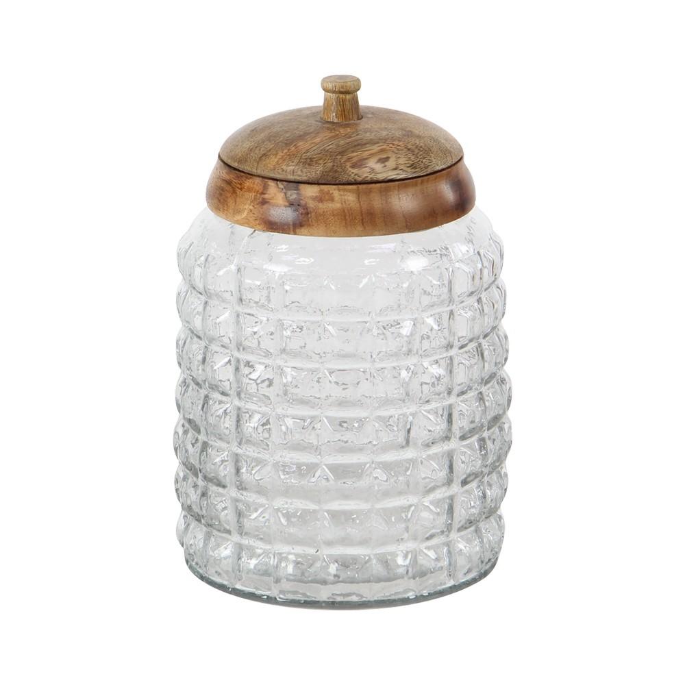 Deposito de vidrio con tapa madera 9 pulg
