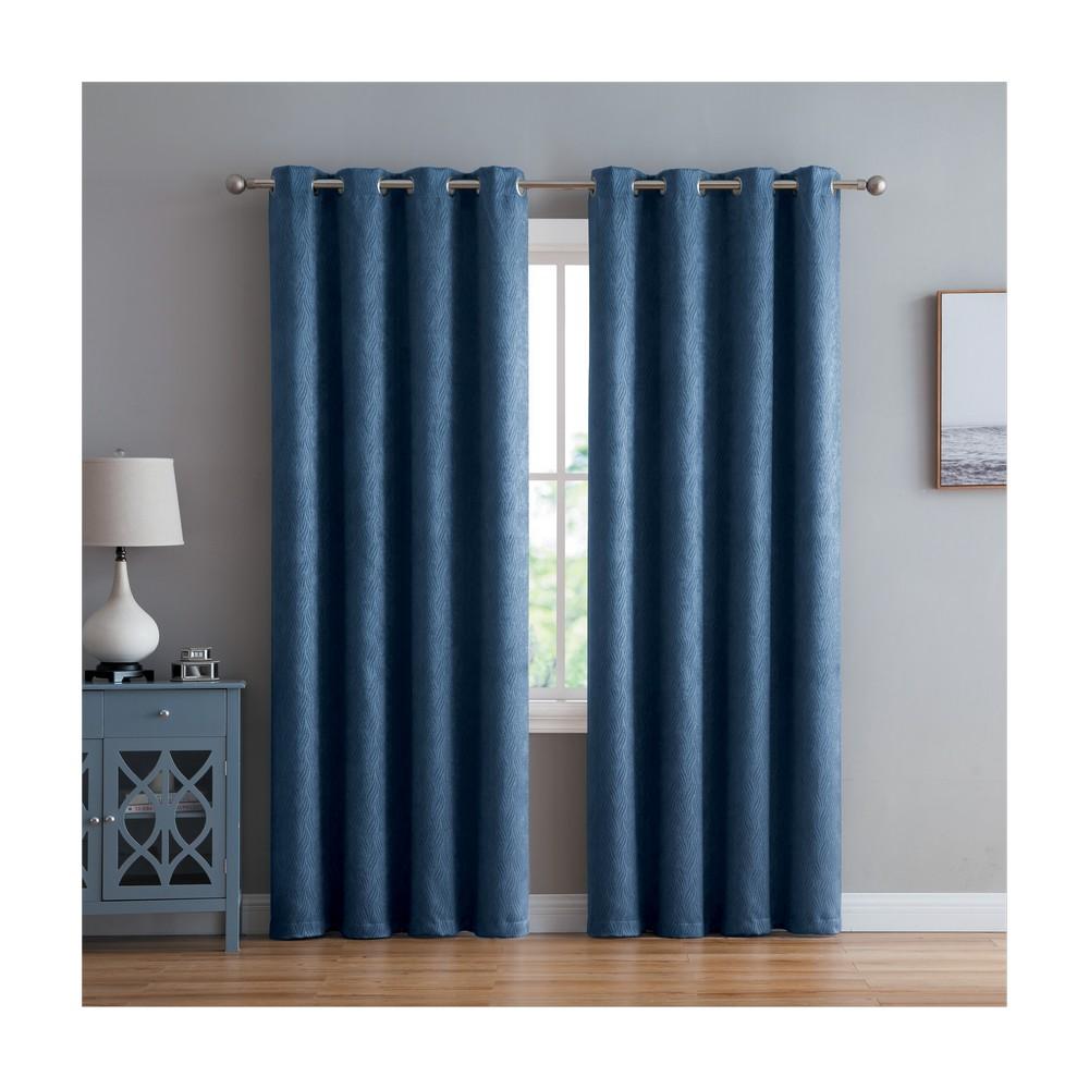 Cortina de tela wavelenght 52 x 90 pulg azul blackout
