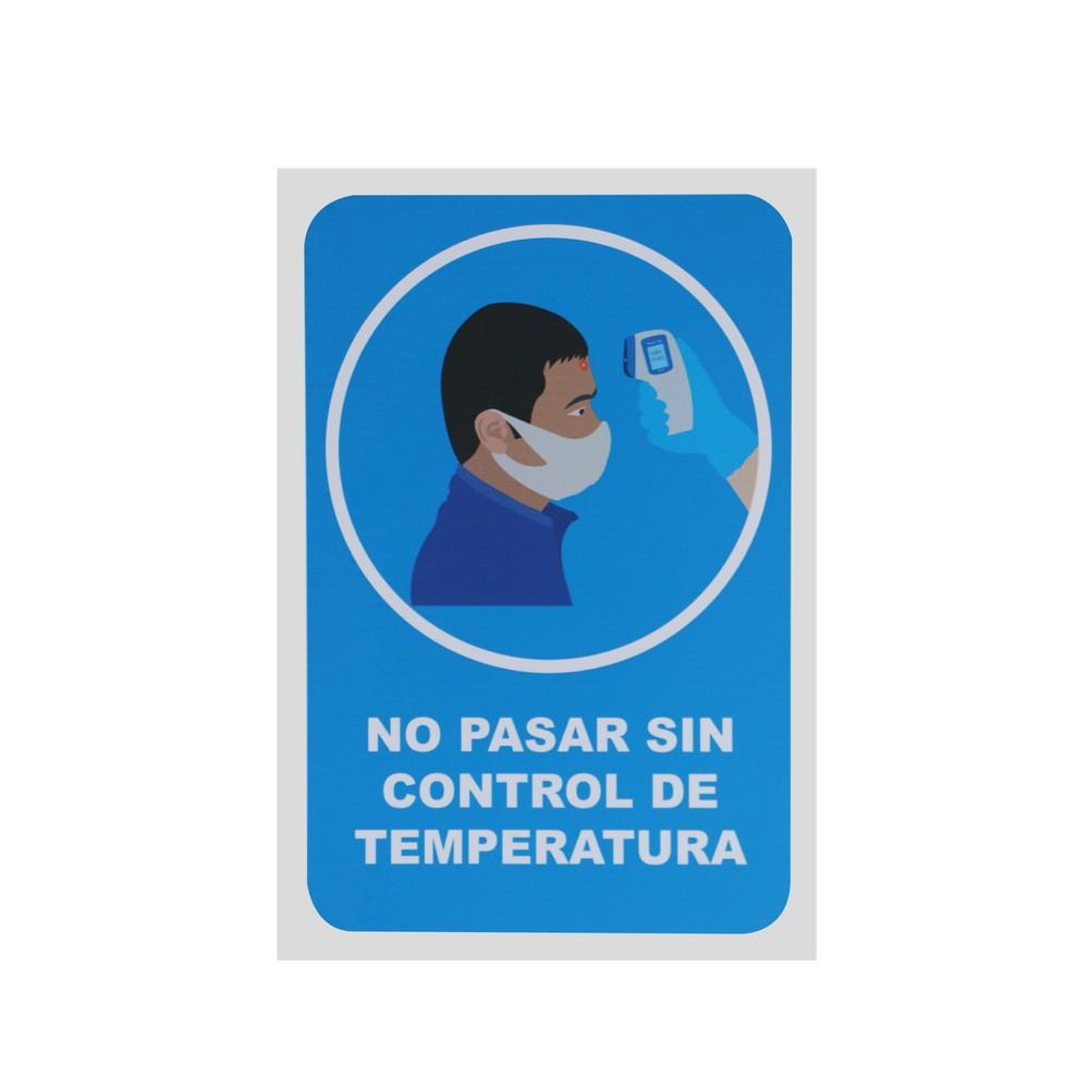 Rotulo no pasar sin control de temperatura 20x30cm