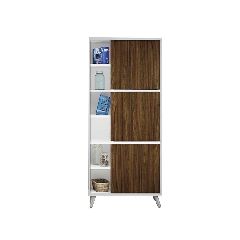 Mueble 3 estante con puerta 139 x 60 x 30 cm blanco puerta café