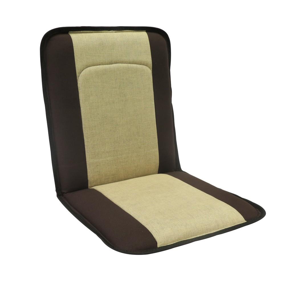 Respaldo café y beige de tela para asiento de carro