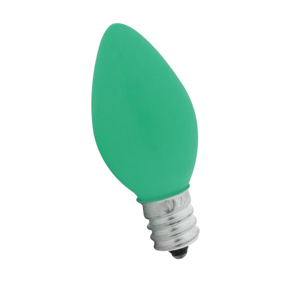 Foco incandescente 7.5w e12 verde pintado