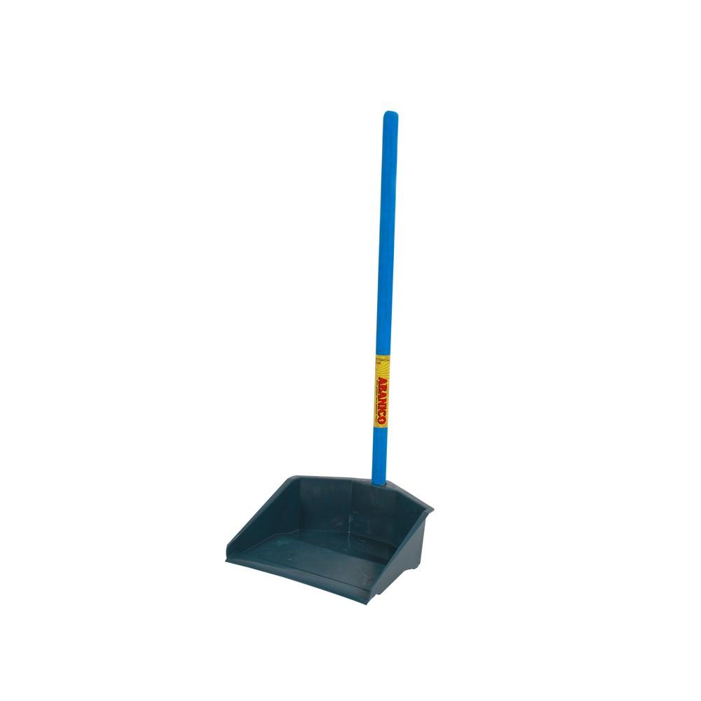 Pala para basura azul y gris con mango largo