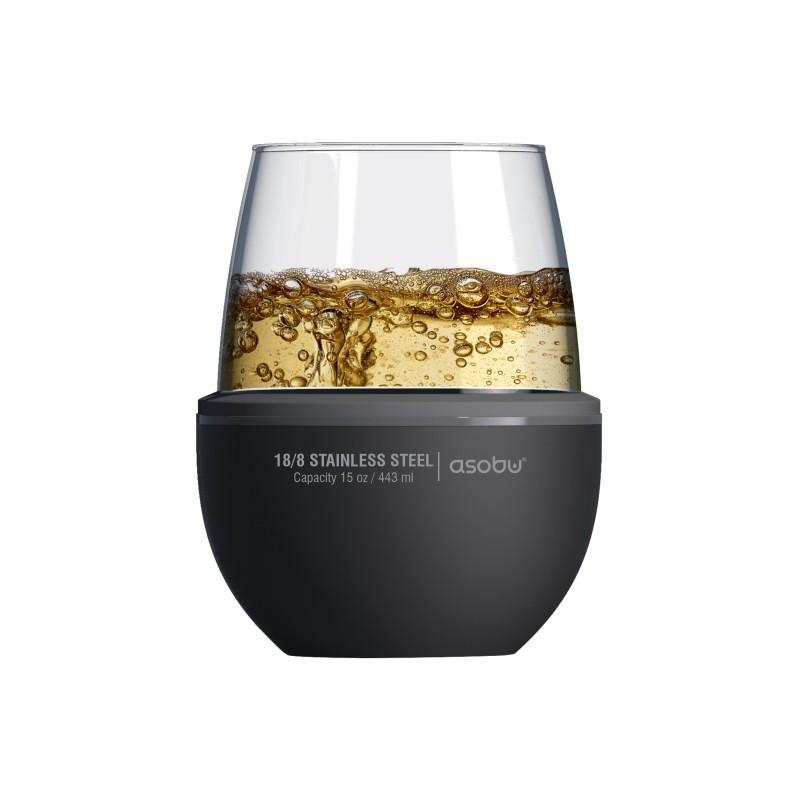 Copa para vino metal/vidrio negro