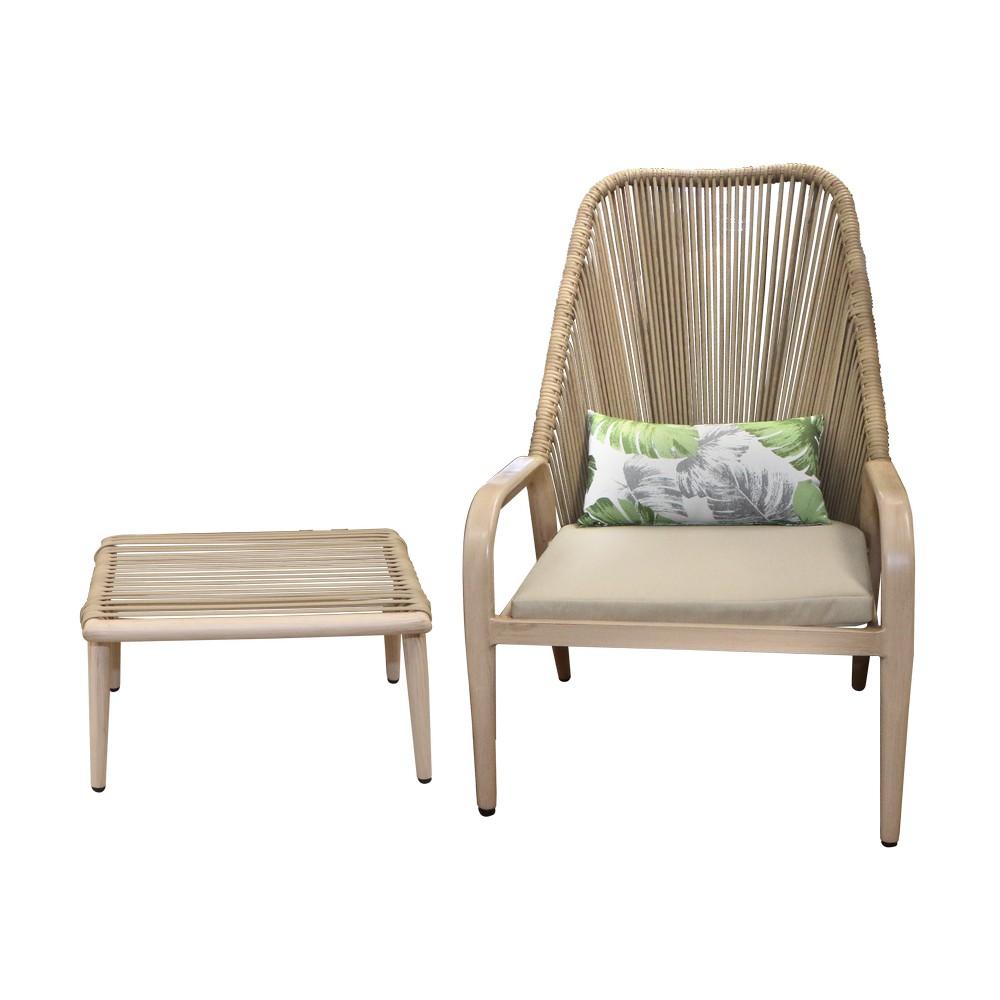 Bistro silla y escabel beige cojin de hojas 2 piezas
